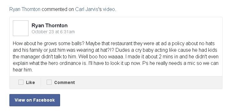Facebook comment about HEROsucks.com video